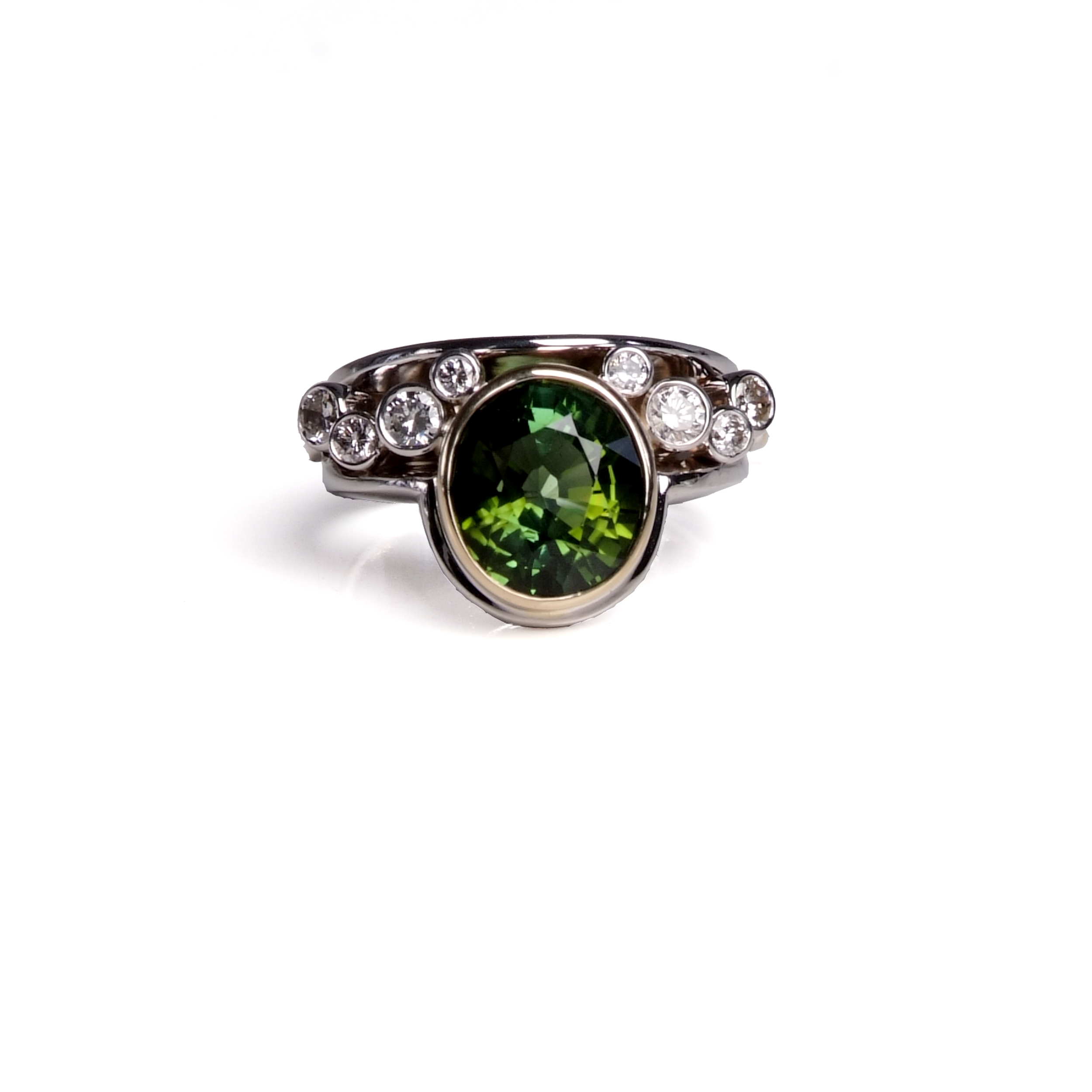 Craft-Revival Jewelers, tourmaline ring, green tourmaline ring, bezet set stones, bezel set ring