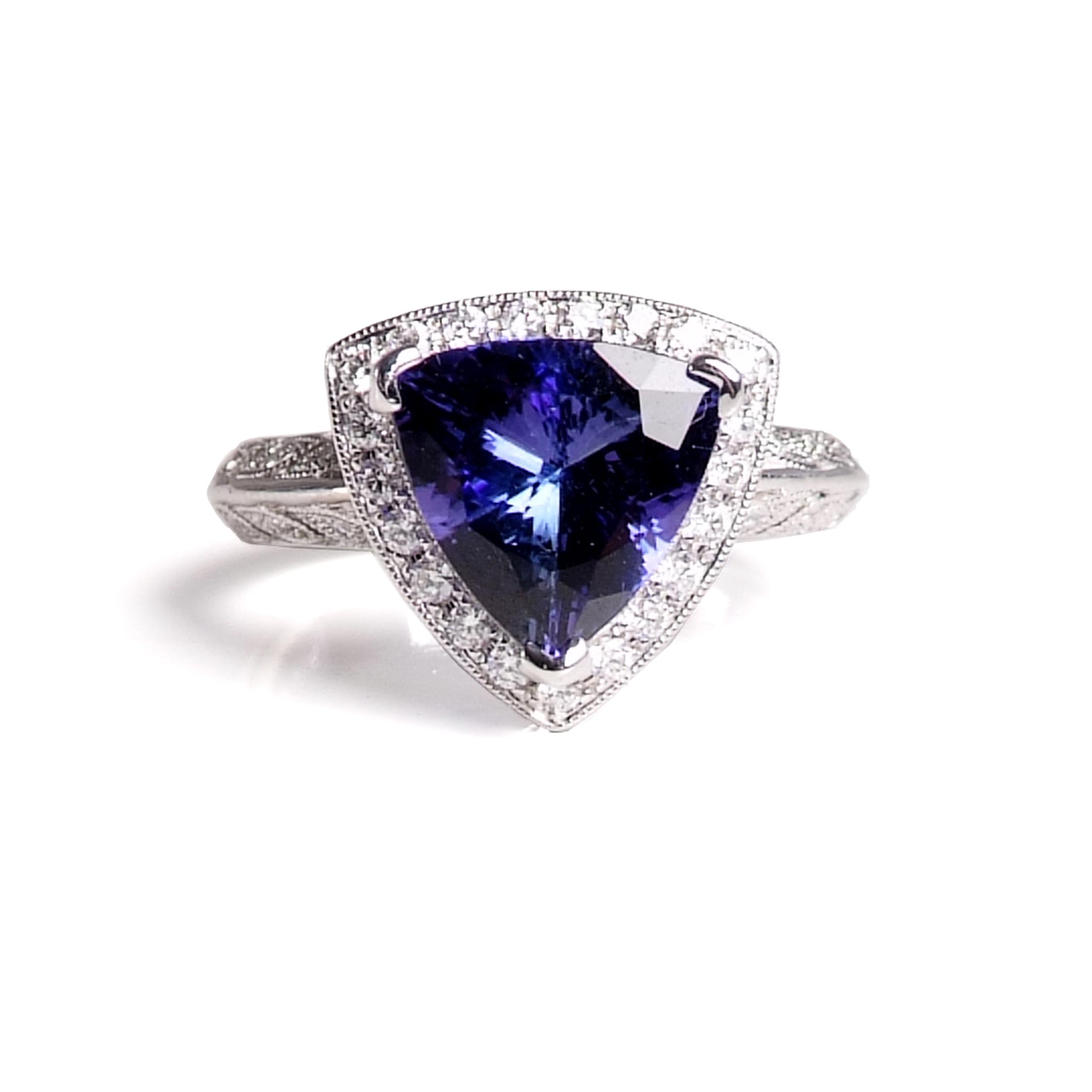 Craft-Revival Jewelers, tanzanite ring, antique ring, halo ring, gemstone halo ring