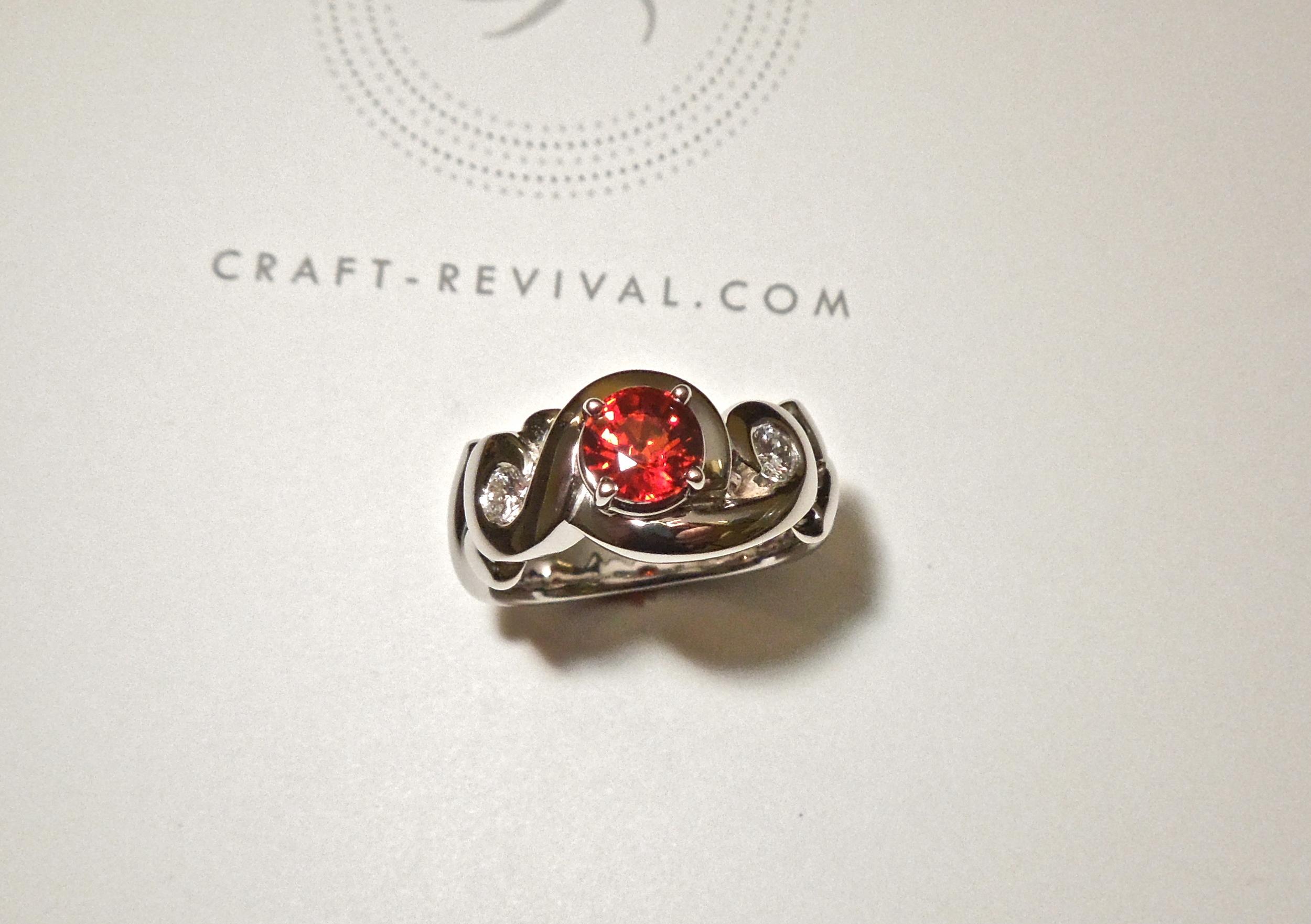 Craft-Revival Jewelers, sapphire ring, orange sapphire ring