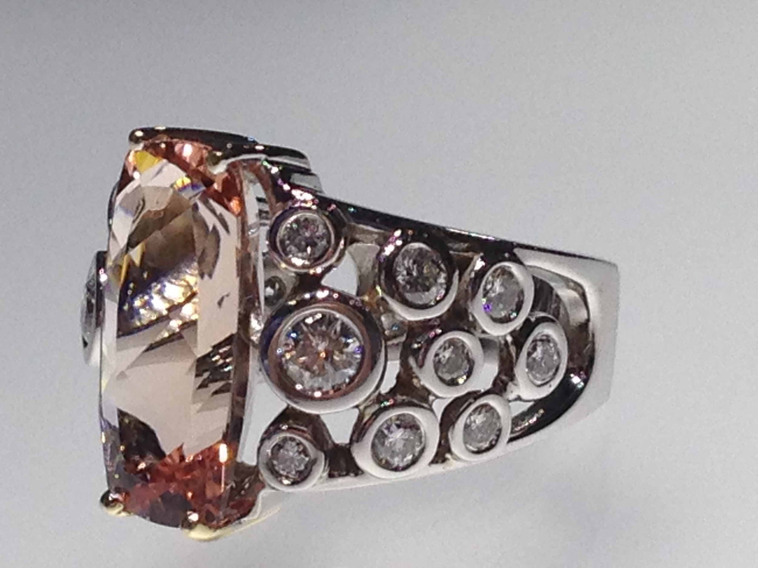 Craft-Revival Jewelers, unique ring, morganite ring, bezel set diamonds