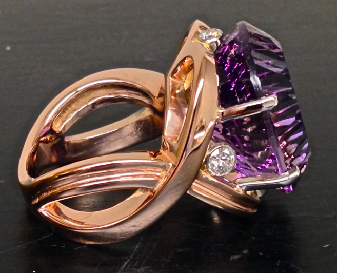 Craft-Revival Jewelers, Rose gold ring, ametrine ring, oval amethyst, unique ring