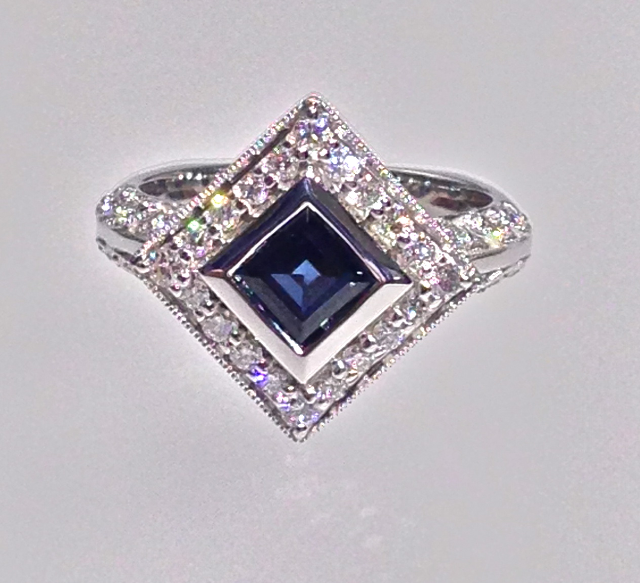 Craft-Revival Jewelers, sapphire ring, halo ring, antique ring, engraved ring