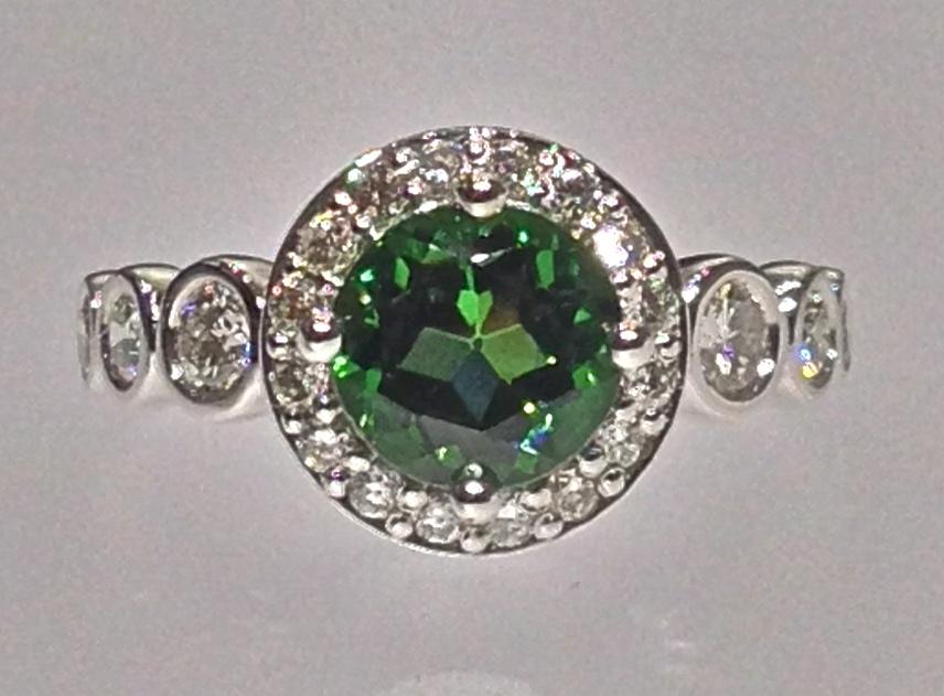 Craft-Revival Jewelers, Green tourmaline ring, tourmaline ring, bezel set diamonds
