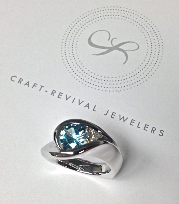 Craft-Revival Jewelers, unique ring, blue zircon ring