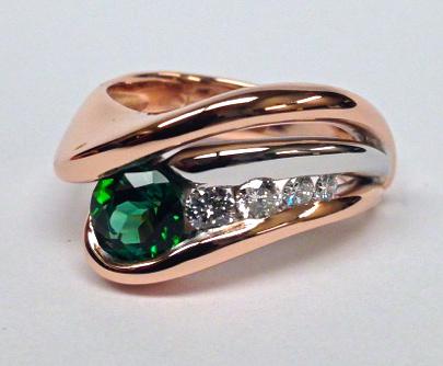 Craft-Revival Jewelers, Rose gold ring, tourmaline ring, green tourmaline ring