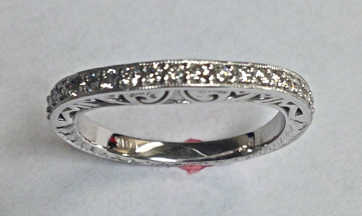 Craft-Revival Jewelers, diamond wedding band, antique wedding band, engraved band,