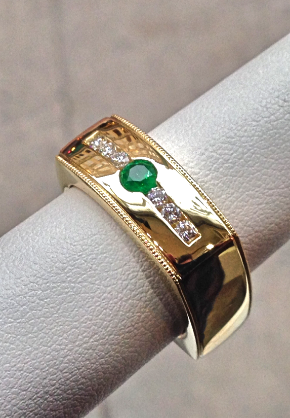 unique-custom-wedding-ring-green-stone-craft-revival-jewelry-store-grand-rapids