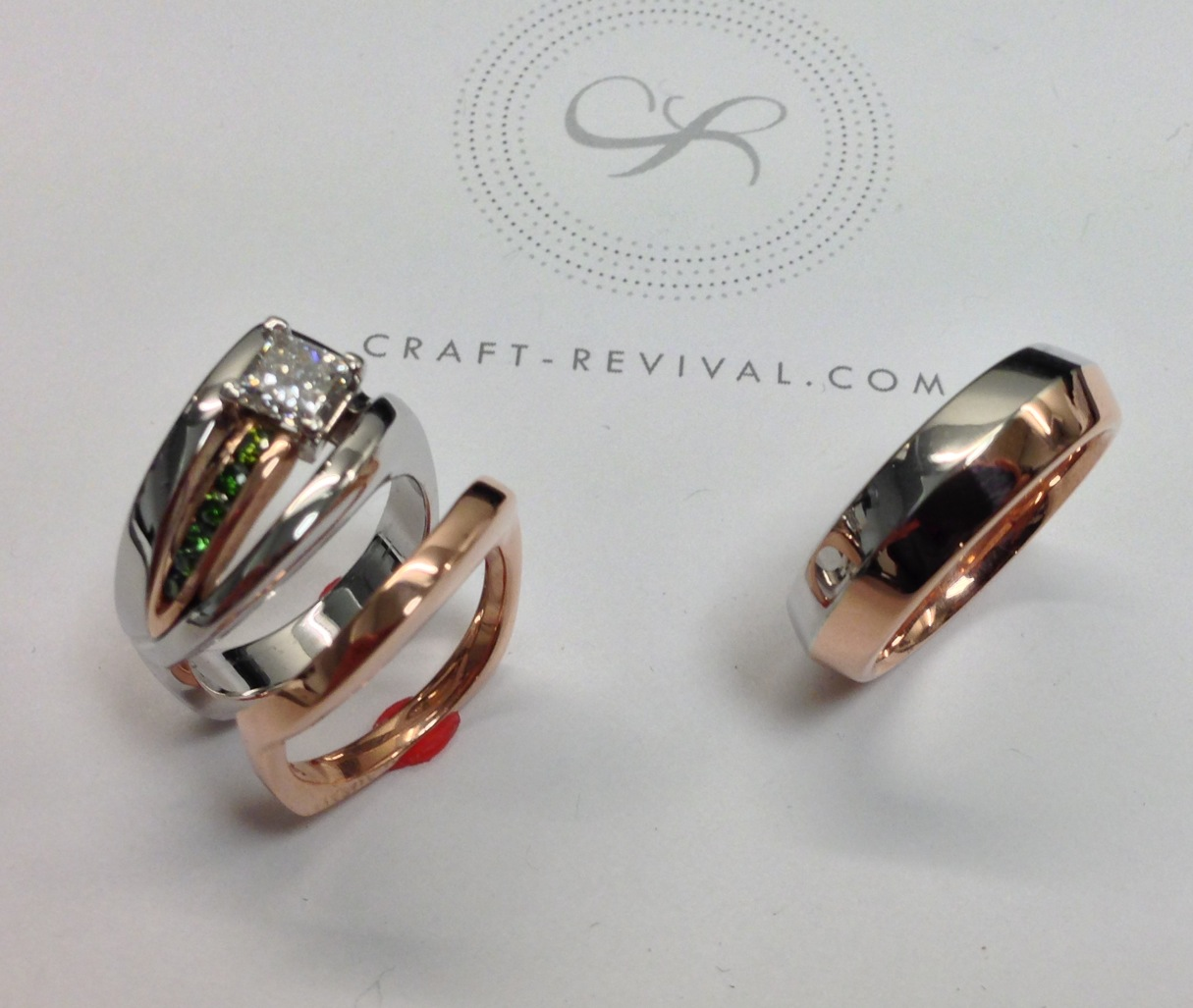 unique-rose-white-gold-custom-wedding-set-craft-revival-jewelers-store-grand-rapids
