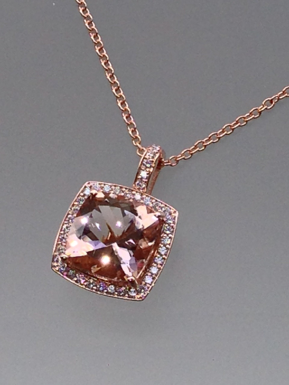 Craft-Revival Jewelers, unique pendant, unqiue necklace, rose gold pendante, rose gold necklace, morgnaite necklace, morganite halo pendante