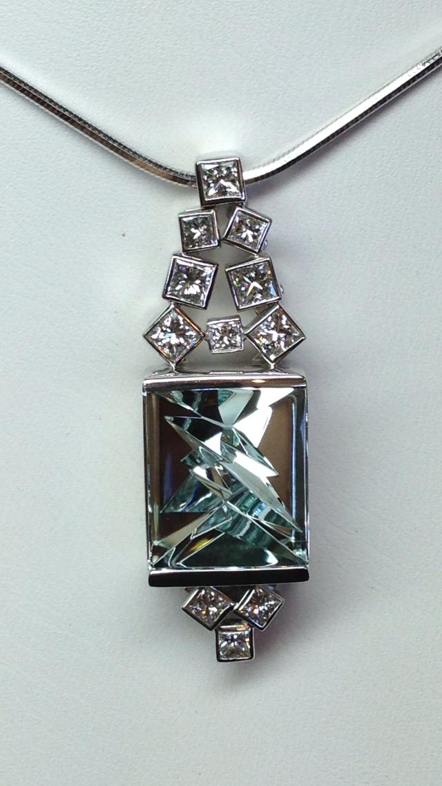 Craft-Revival Jewelers, unique pendant, unqiue necklace, aquamarine pendant, munsteiner pendante, modern pendant