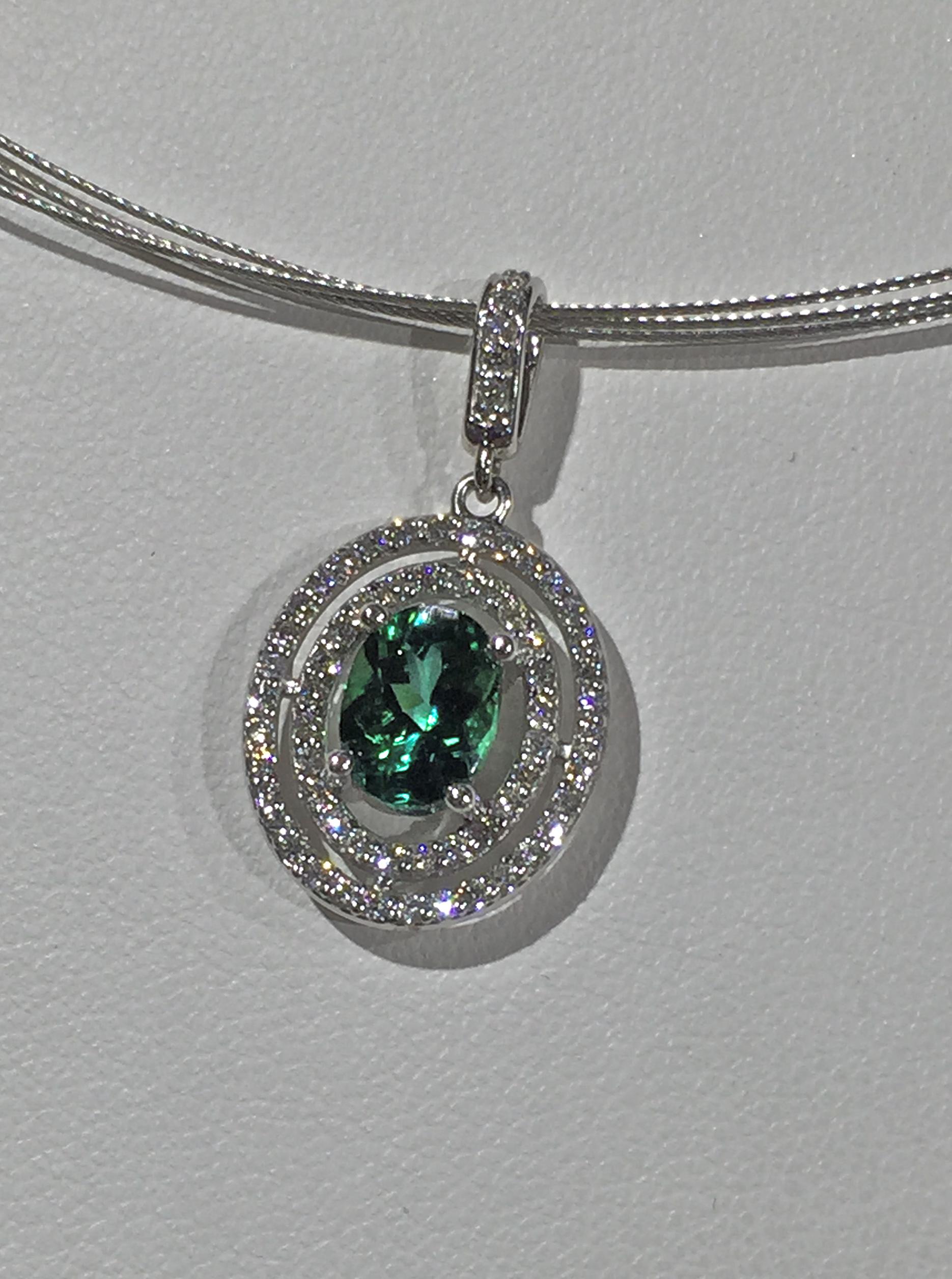 Craft-Revival Jewelers, unique pendant, unqiue necklace, double halo pendnant, tourmaline pendant, tourmaline necklace