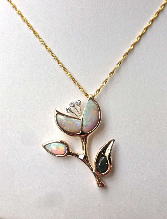 unique-custom-opal-pendant-yellow-gold-green-accents-flower-pendant-craft-revival-jewelry-store