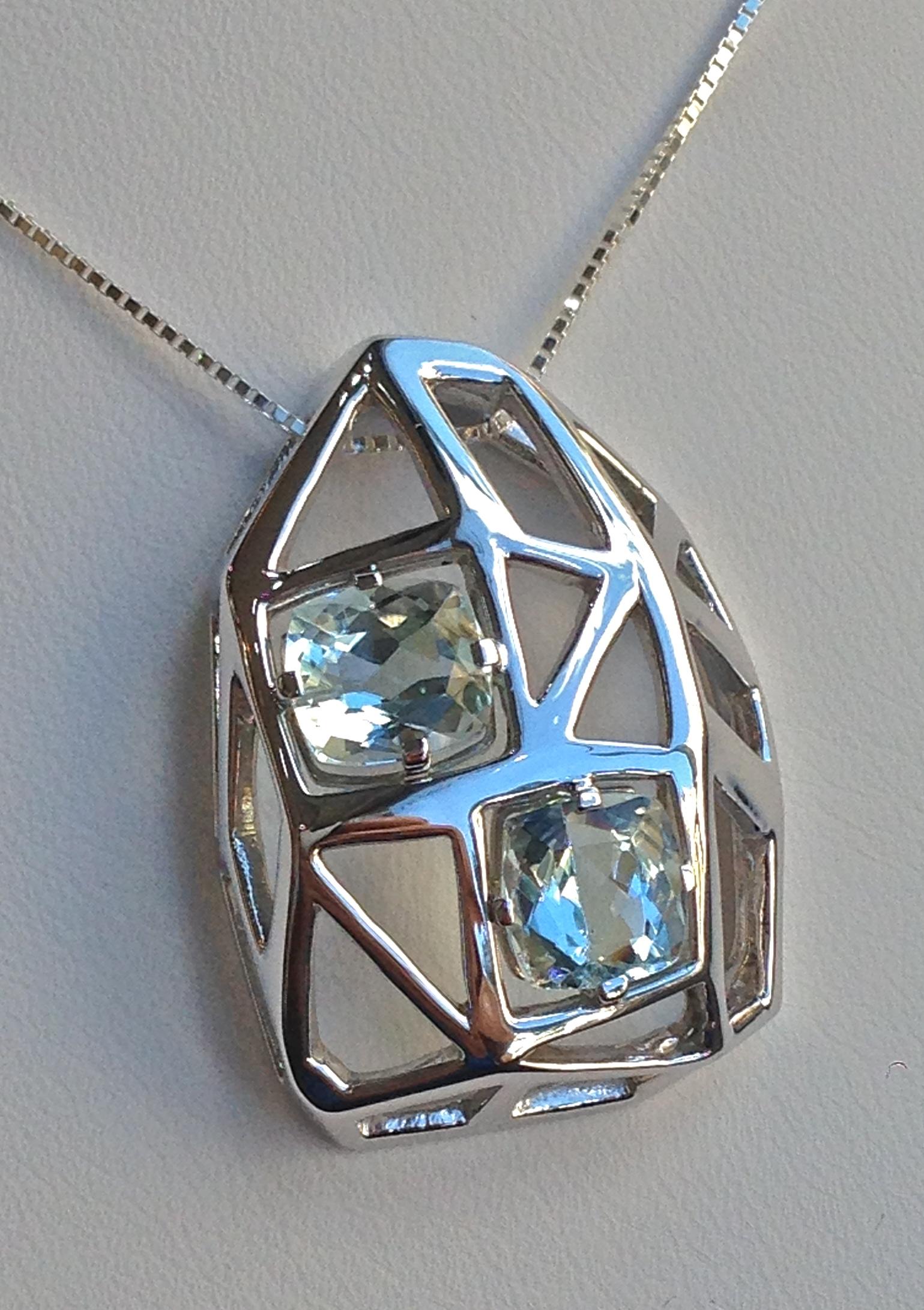 Craft-Revival Jewelers, unique pendant, unqiue necklace, aquamarine pendat