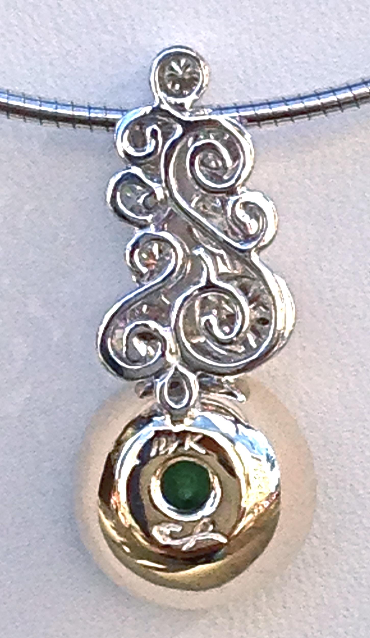 unique-craft-revival-jewelry-store-grand-rapids-green-tourmaline-round-stone-white-gold-yellow-gold-diamond-accent-pendant-ladies-custom-jewelry-back
