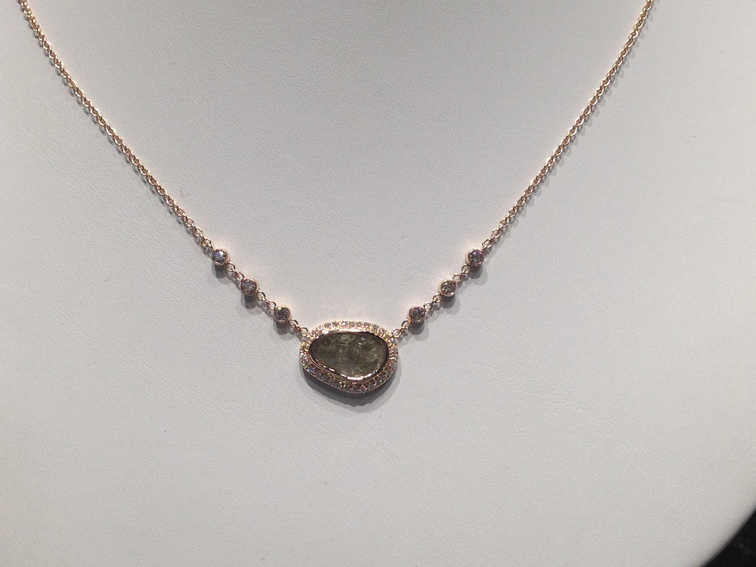 Craft-Revival Jewelers, unique pendant, unqiue necklace, diamond slice necklace, rose gold necklace