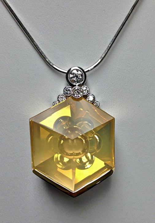 Craft-Revival Jewelers, unique pendant, unqiue necklace, fire opal, munstiener pendant