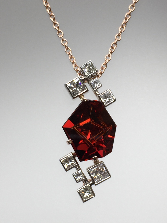 Craft-Revival Jewelers, unique pendant, unqiue necklace, garnet pendant, bezel set diamonds, rose gold necklace, munstiener garnet