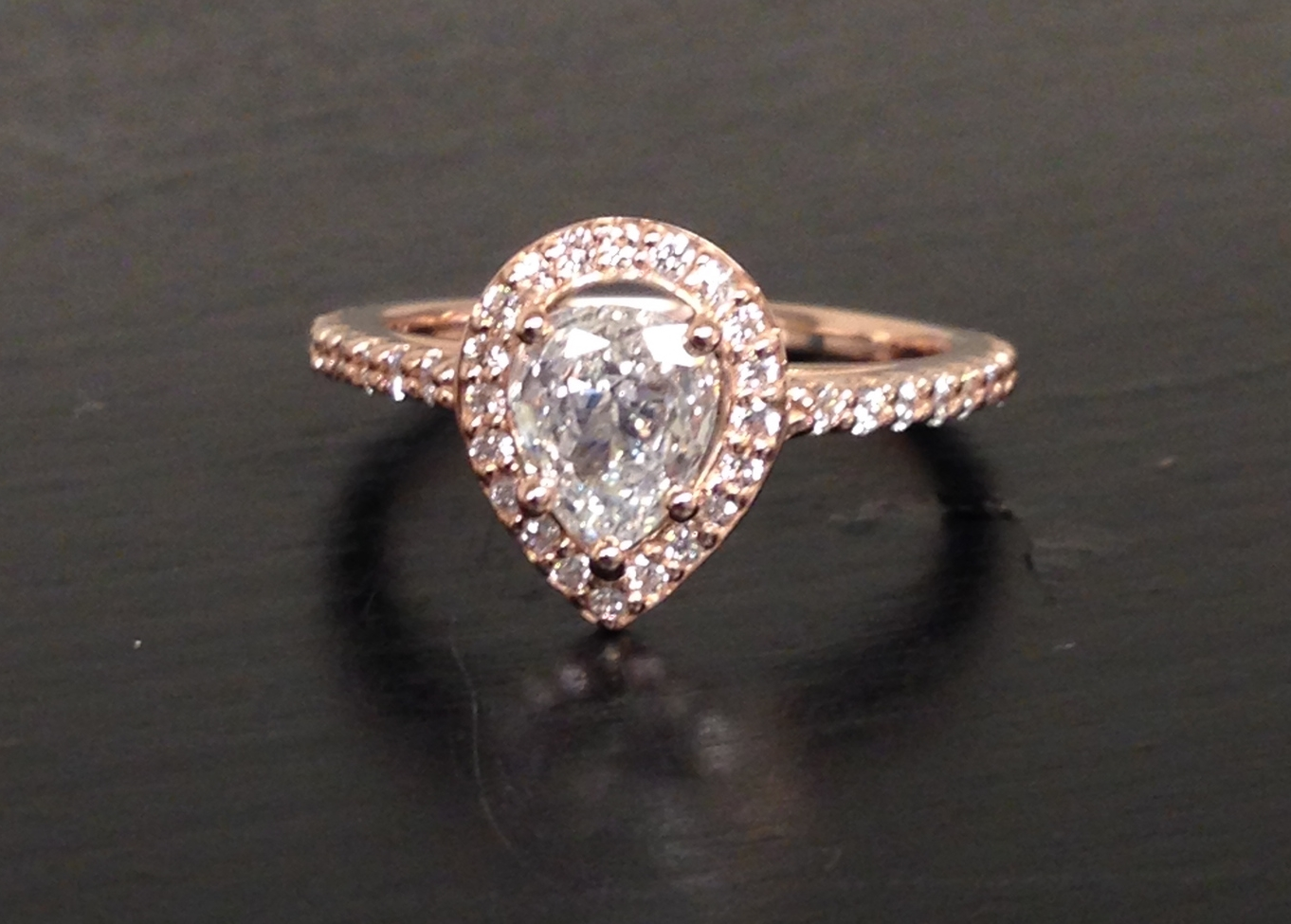 Craft-Revival Jewelers,  engagement ring, diamond engagement ring, diamond ring, modern ring, unique ring, unique engagement ring, pear shape engagement ring, rose gold ring, rose gold engagement ring