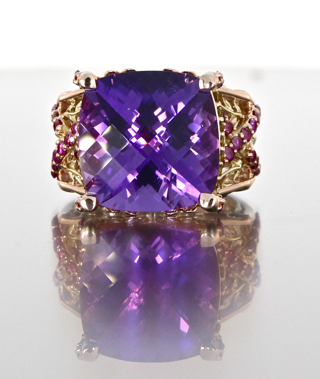 unique-amethyst-engagement-ring-modern-design-pink-diamonds-yellow-diamonds-craft-revival-jewelry-store-grand-rapids