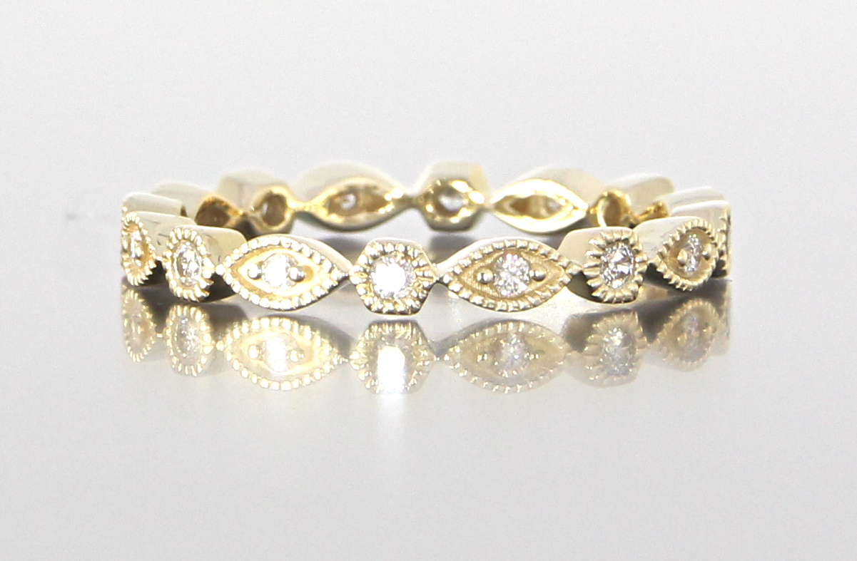 unique-dainty-delicate-diamond-eternity-band-yellow-gold-craft-revival-jewelry-store-grand-rapids