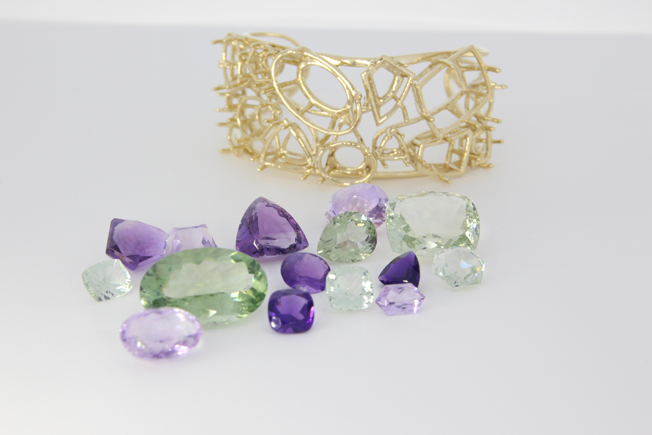 unique-custom-yellow-gold-cuff-natural-amethyst-green-amethyst-gemstones-craft-revival-jewelry-store-grand-rapids-in-process