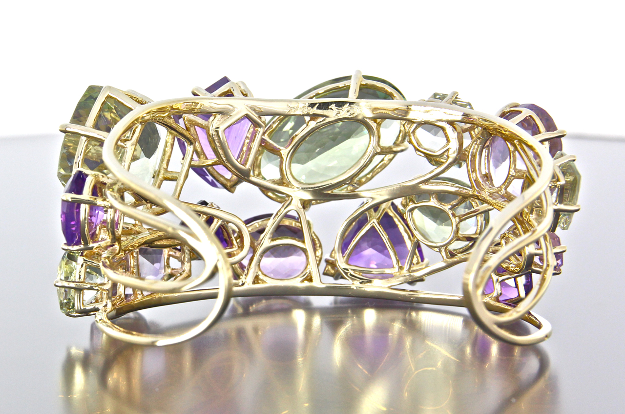 unique-custom-yellow-gold-cuff-natural-amethyst-green-amethyst-gemstones-craft-revival-jewelry-store-grand-rapids-back-view