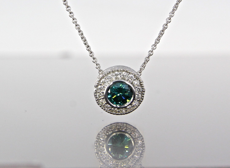 unique-teal-blue-diamond-white-gold-diamond-halo-slide-pendant-craft-revival-jewelry-store-grand-rapids