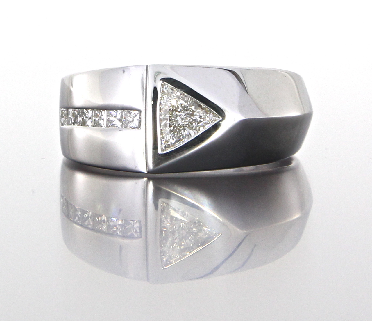 unique-custom-trillion-diamond-mens-wedding-band-white-gold-craft-revival-jewelers-store-grand-rapids