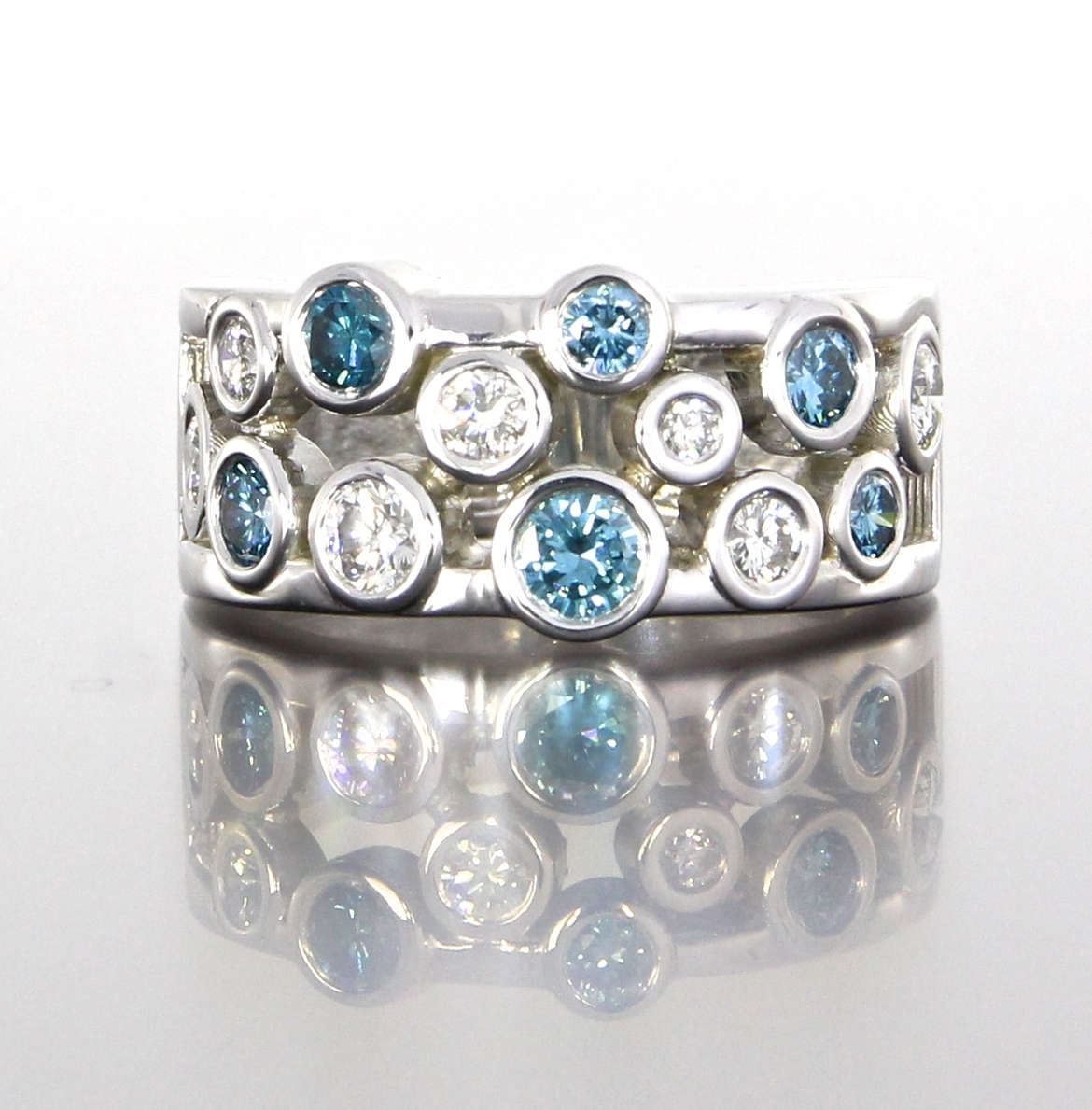 top-view-unique-diamond-blue-diamond-band-womens-wedding-white-gold-craft-revival-jewelry-store-grand-rapids