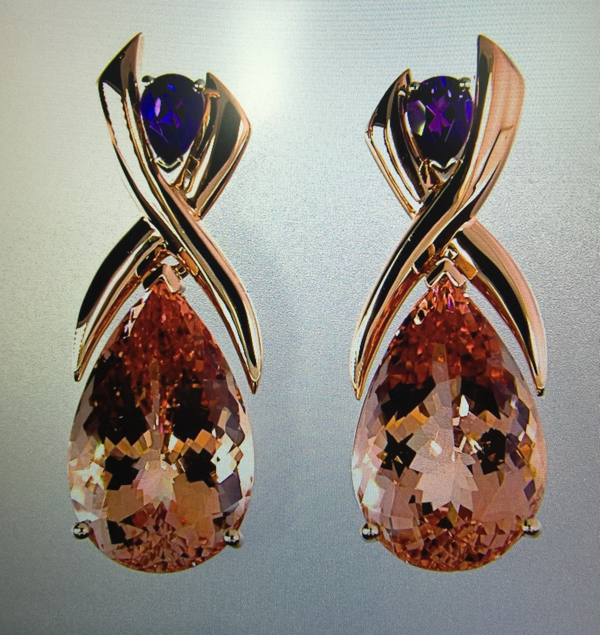 unique-pear-shape-morganite-amethyst-rose-gold-custom-earrings-craft-revival-jewelry-store-grand-rapids