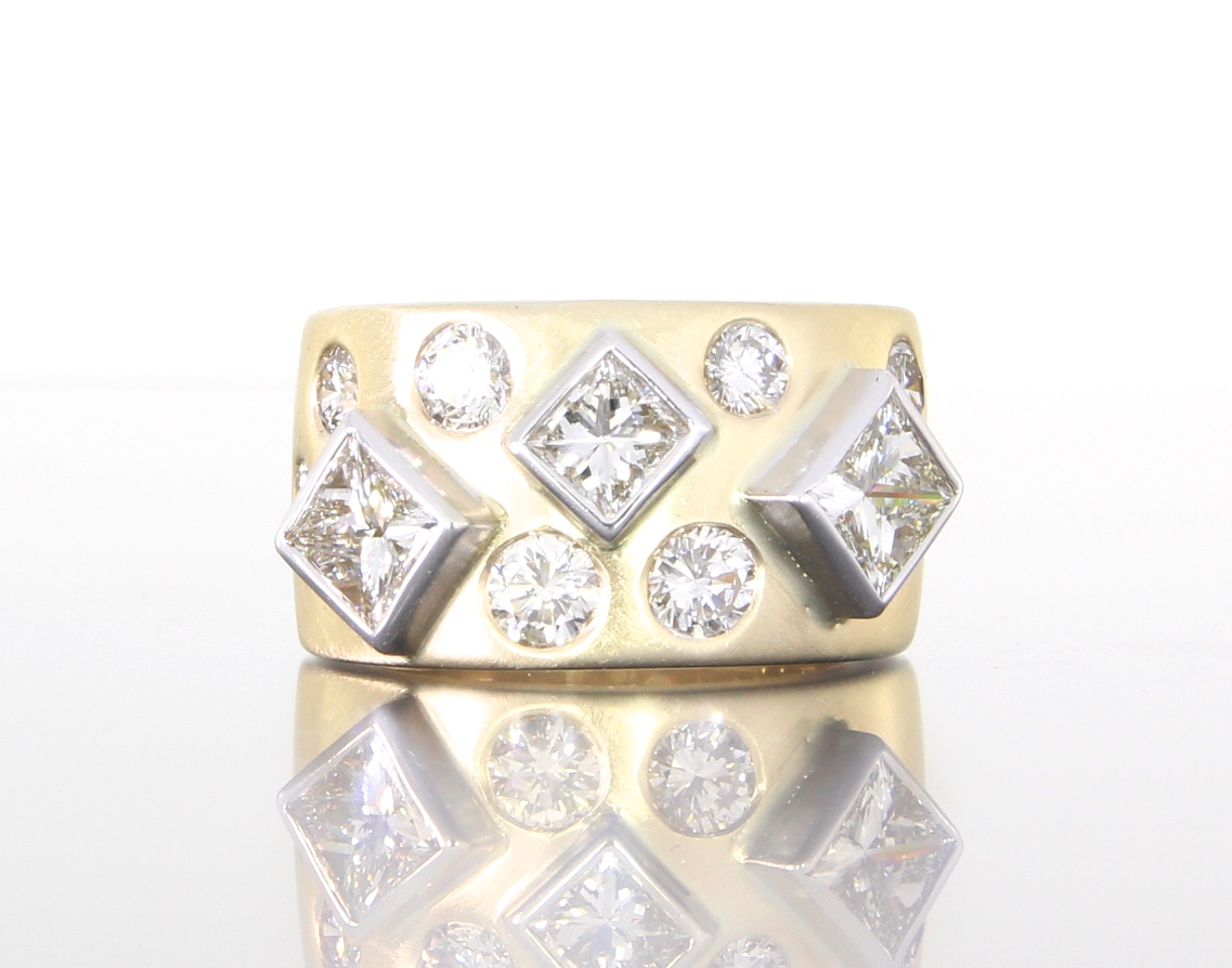 unique-custom-wedding-band-princess-cut-three-stone-ring-craft-revival-jewelry-store-grand-rapids