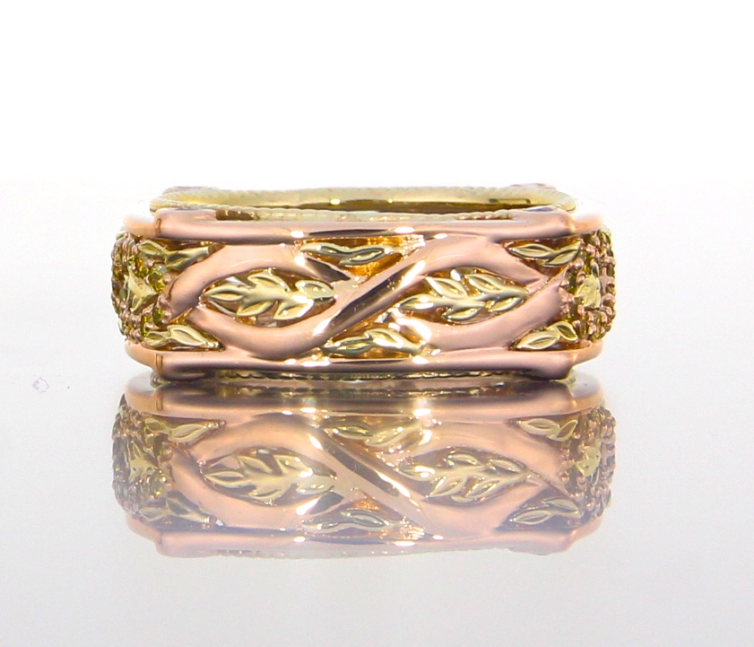 unique-rose-gold-yellow-gold-custom-leaf-pattern-wedding-band-craft-revival-jewelry-store-grand-rapids
