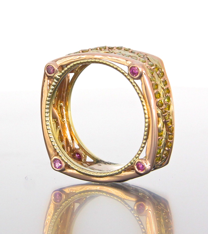 side-view-unique-custom-wedding-band-rose-yellow-gold-canary-yellow-diamond-pink-diamond-twist-band-craft-revival-jewelry-store-grand-rapids