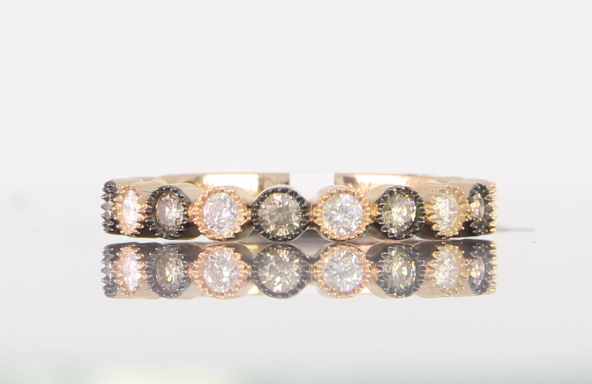 unique-ladies-rose-gold-band-delicate-dainty-simple-round-diamond-vintage-ladies-wedding-band-craft-revival-jewelry-store-grand-rapids