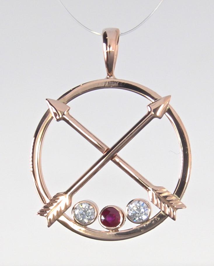 unique-rose-gold-arrow-pendant-diamond-ruby-accents-craft-revival-jewelry-store-grand-rapids