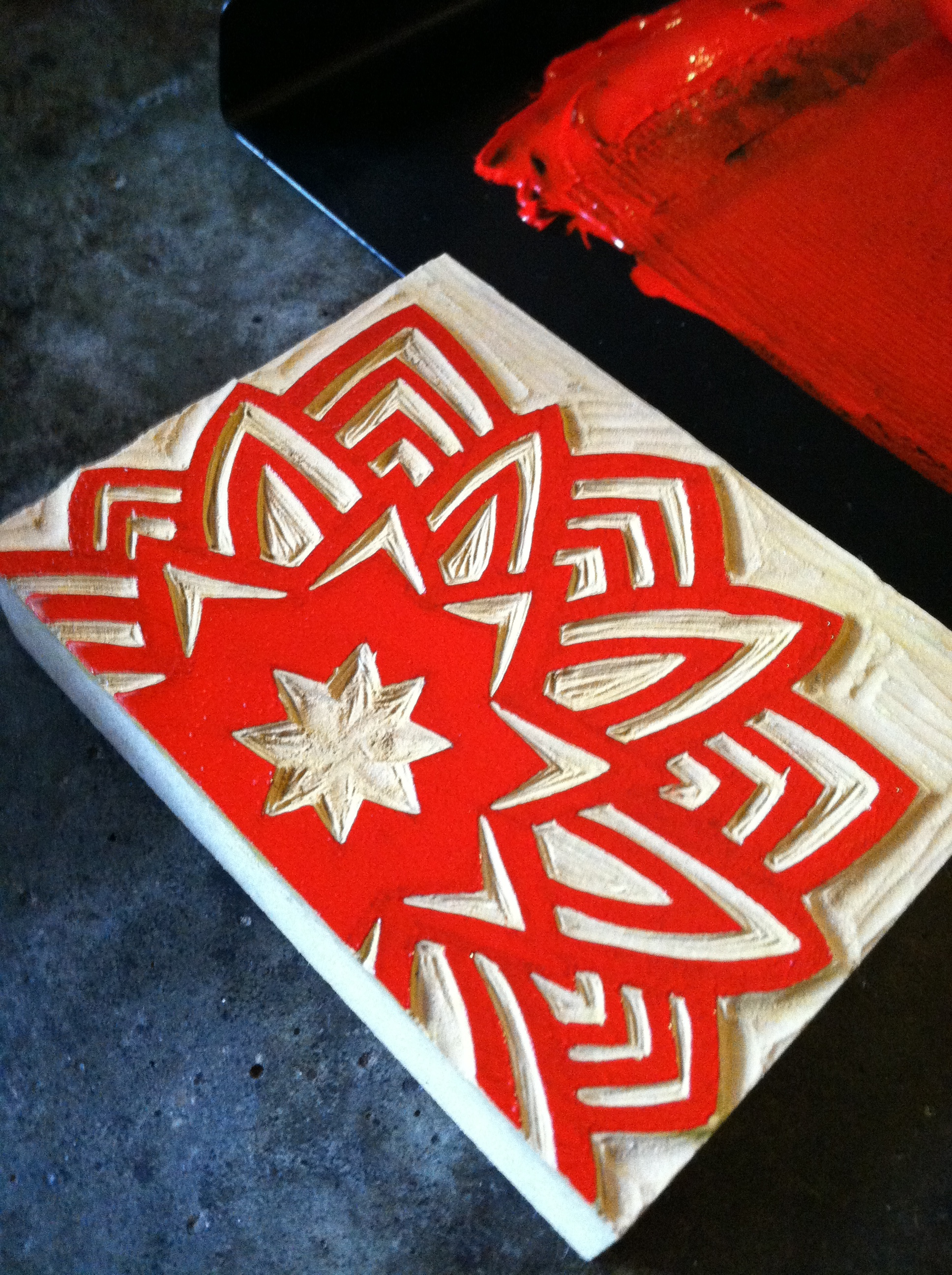 Red snowflake block ready to print