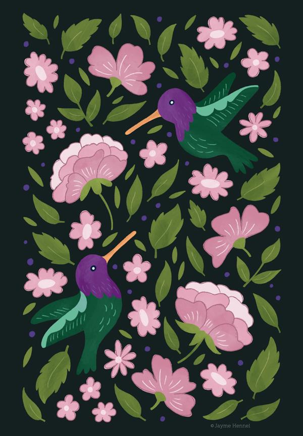 hennel paper co humming birds illustration