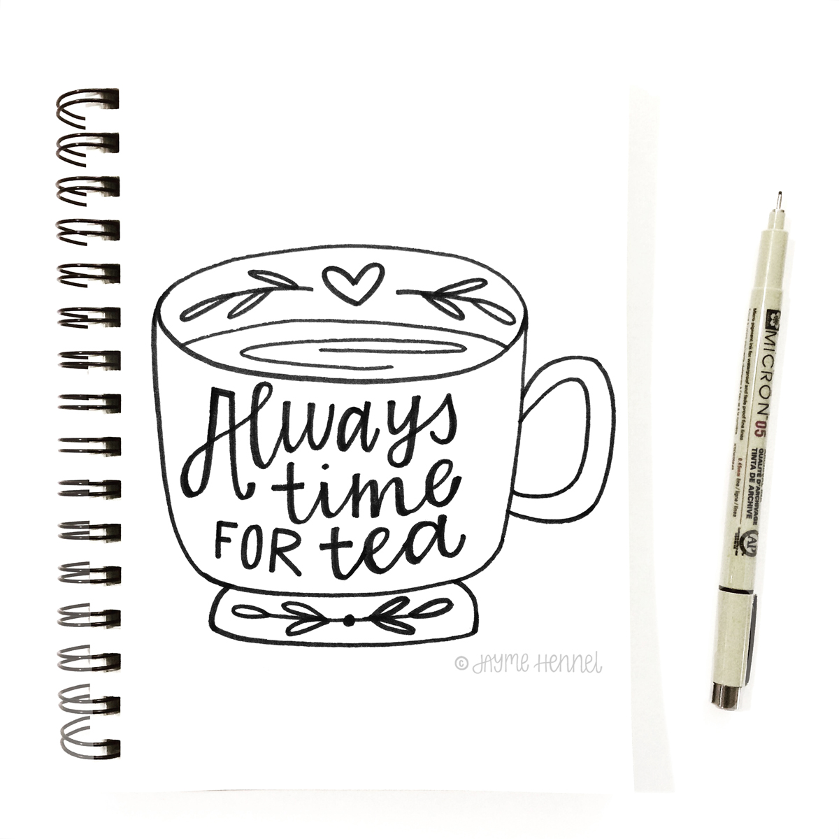 hennel tea cup sketchbook