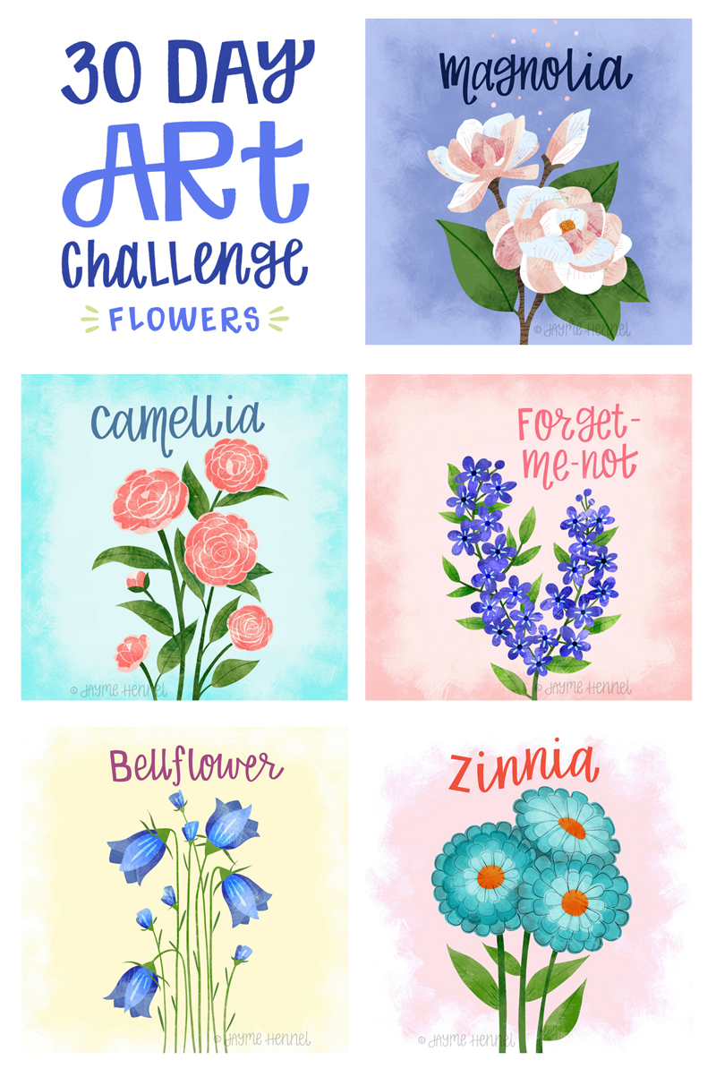 ©2017 Jayme Hennel - 30 Day Art Challenge Flowers 11-15