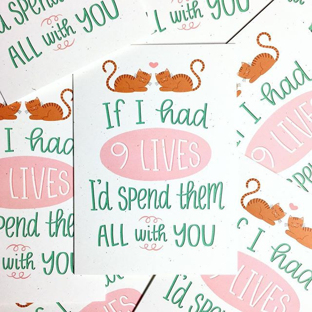 New card alert! If I had 9 lives I'd spend them all with you. 😻 Purrfect for Valentine's Day. • • • • #hennelpaperco #valentinesday #valentinesdaygift #valentinesdaycard #lovecards #etsy #etsyshop #catladygift #bestofetsy #etsyfinds #etsybestsellers #etsygifts #catlasylife #madeincharlotte #lovecard #ninelives #creativelifehappylife #giftforher #catlady #giftforhim #giftforboyfriend #giftforhusband #funnycard #funnycards #stationeryfinds #stationerylover #stationeryaddict #papergoods #paperpeople #paperaddict