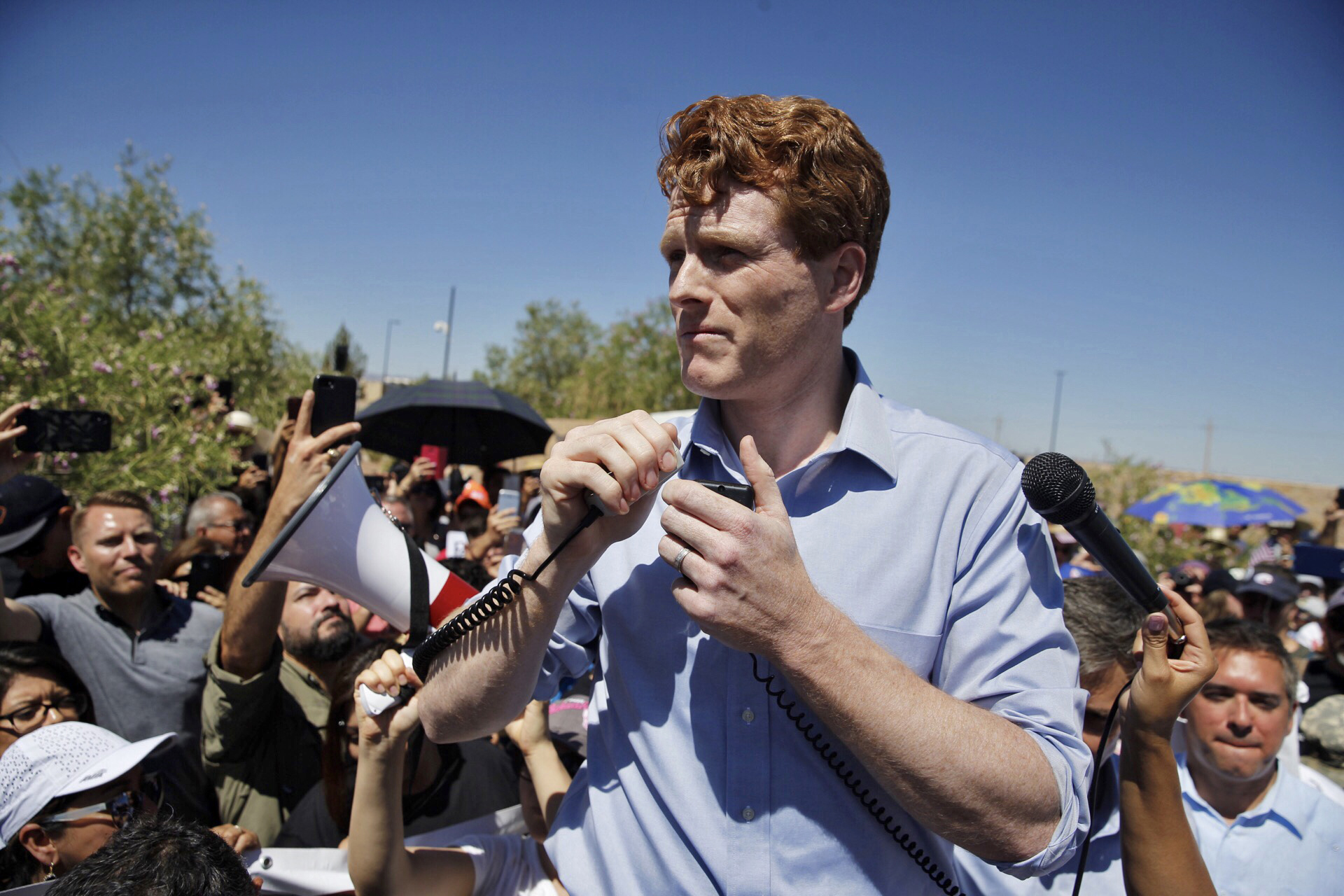 Congressman Joe Kennedy III speaks during a visit to a detention center where refugees are being detained and mistreated by the US government.
