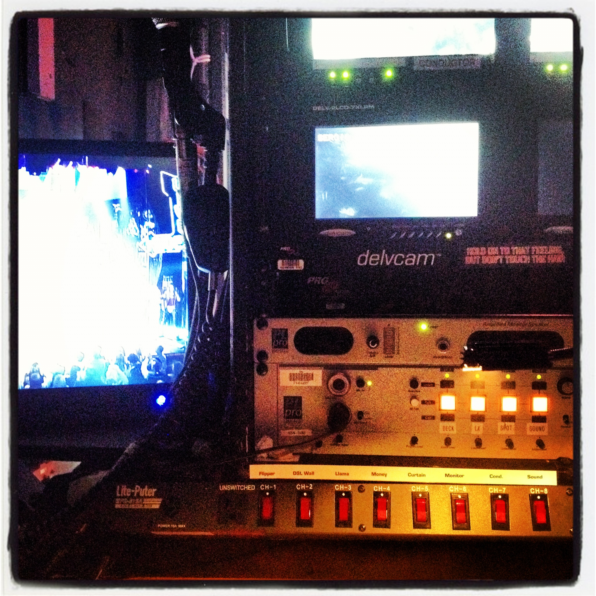 The stage manager's call desk