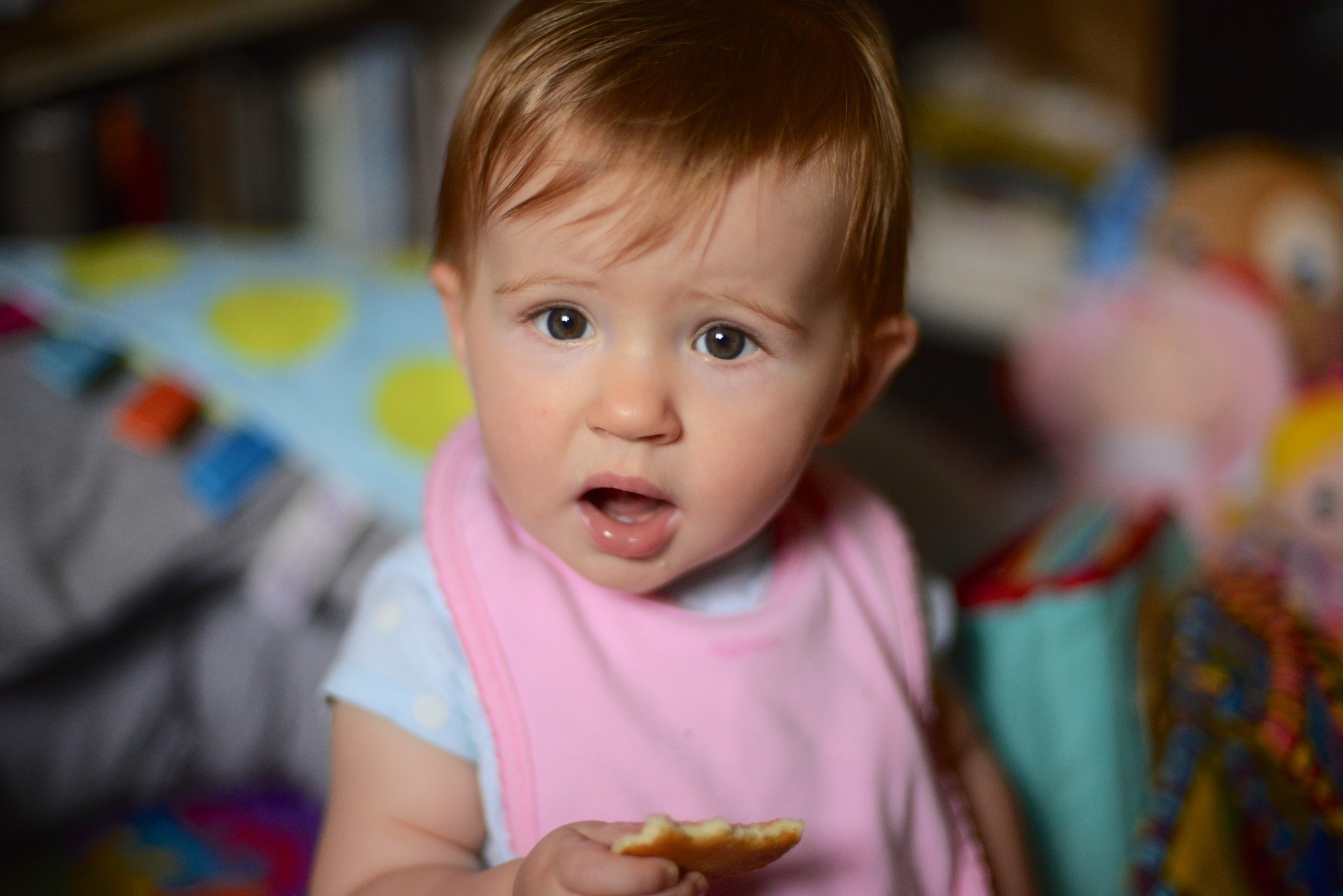 Chowing down on a frozen pancake. Best remedy right now for teething.
