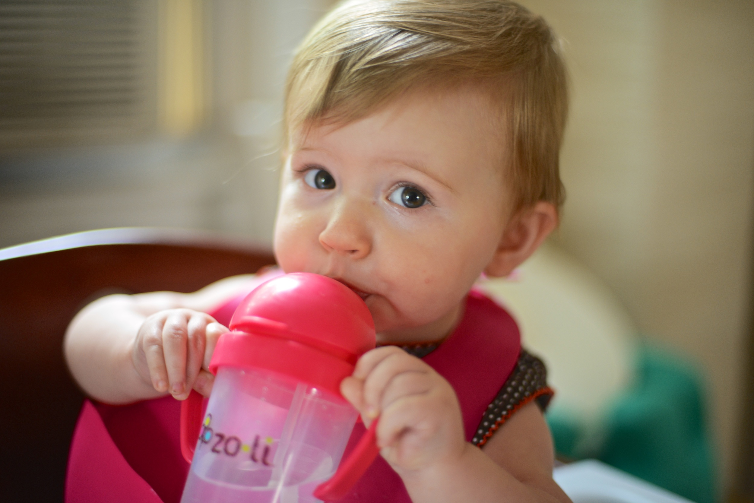 Drinking her water.