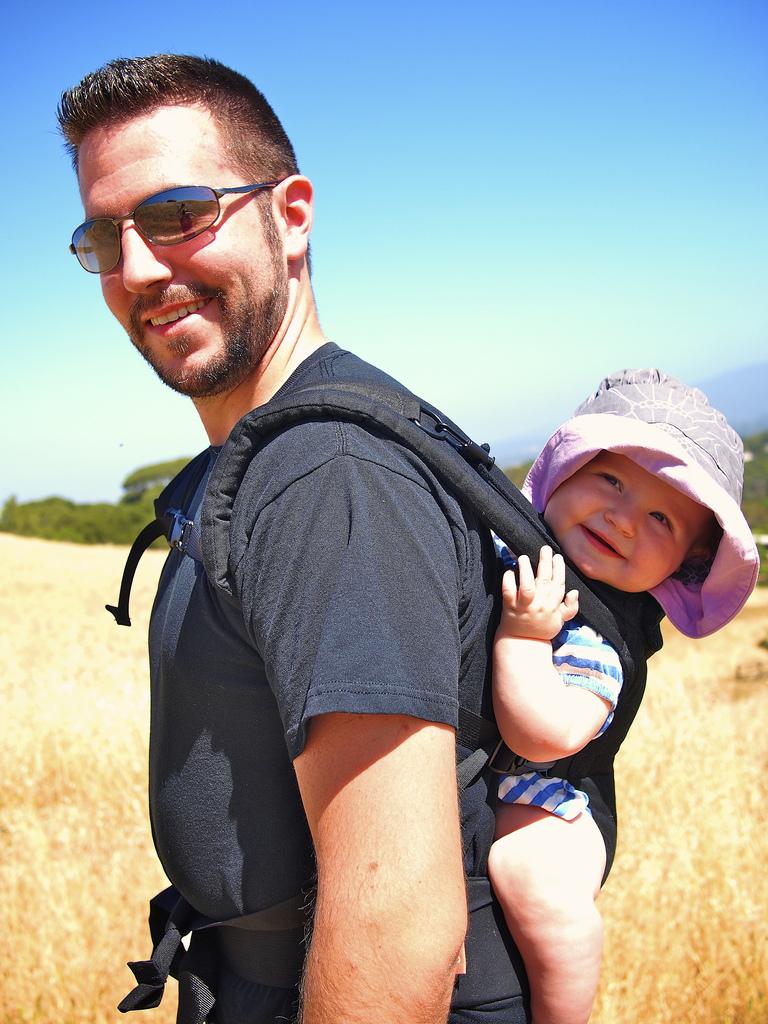 Eric and Lila hiking in California