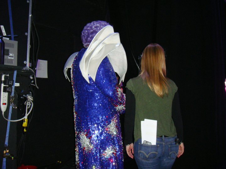 In the wings with Dame Edna.