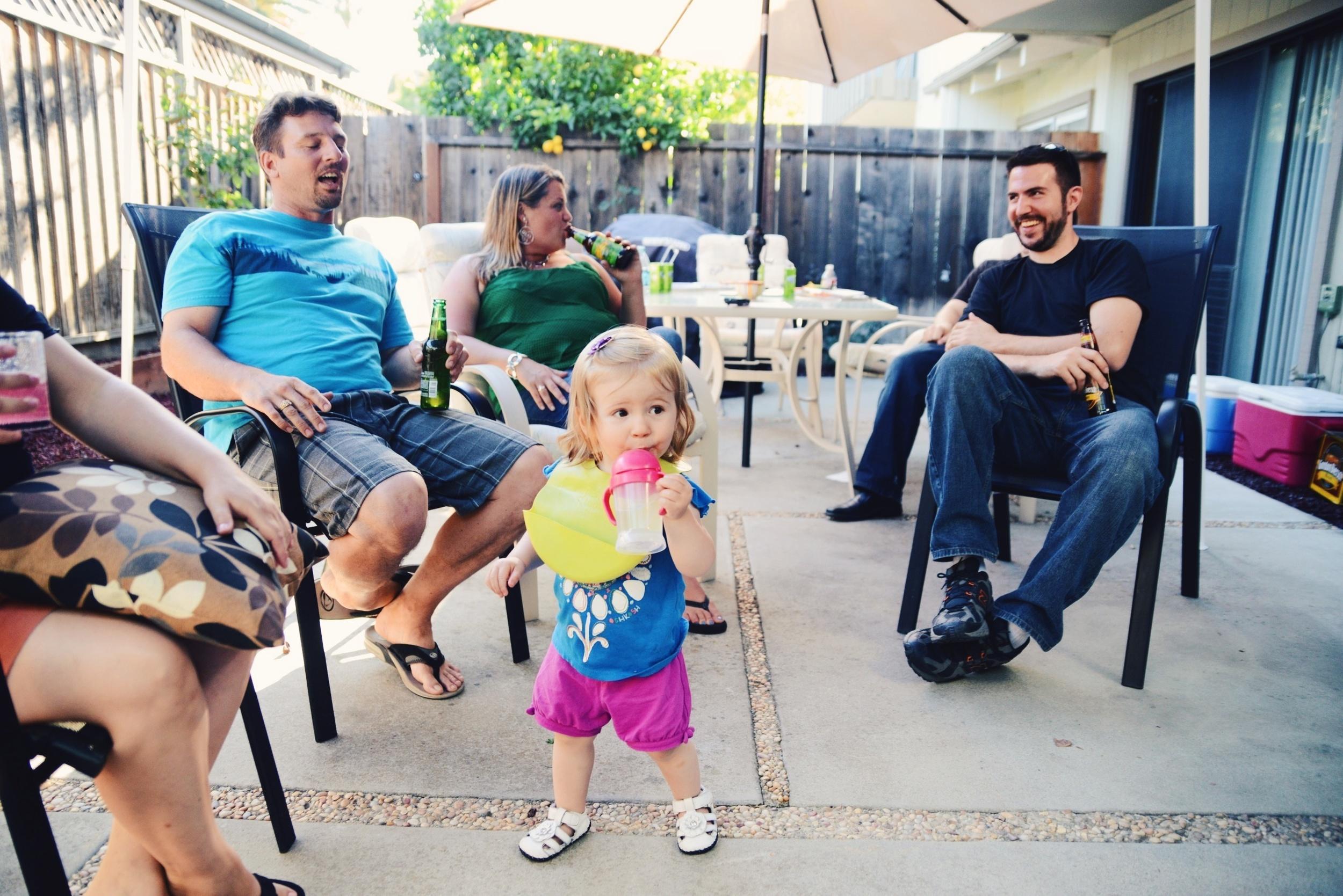 Everyone hanging out in Erika's backyard.