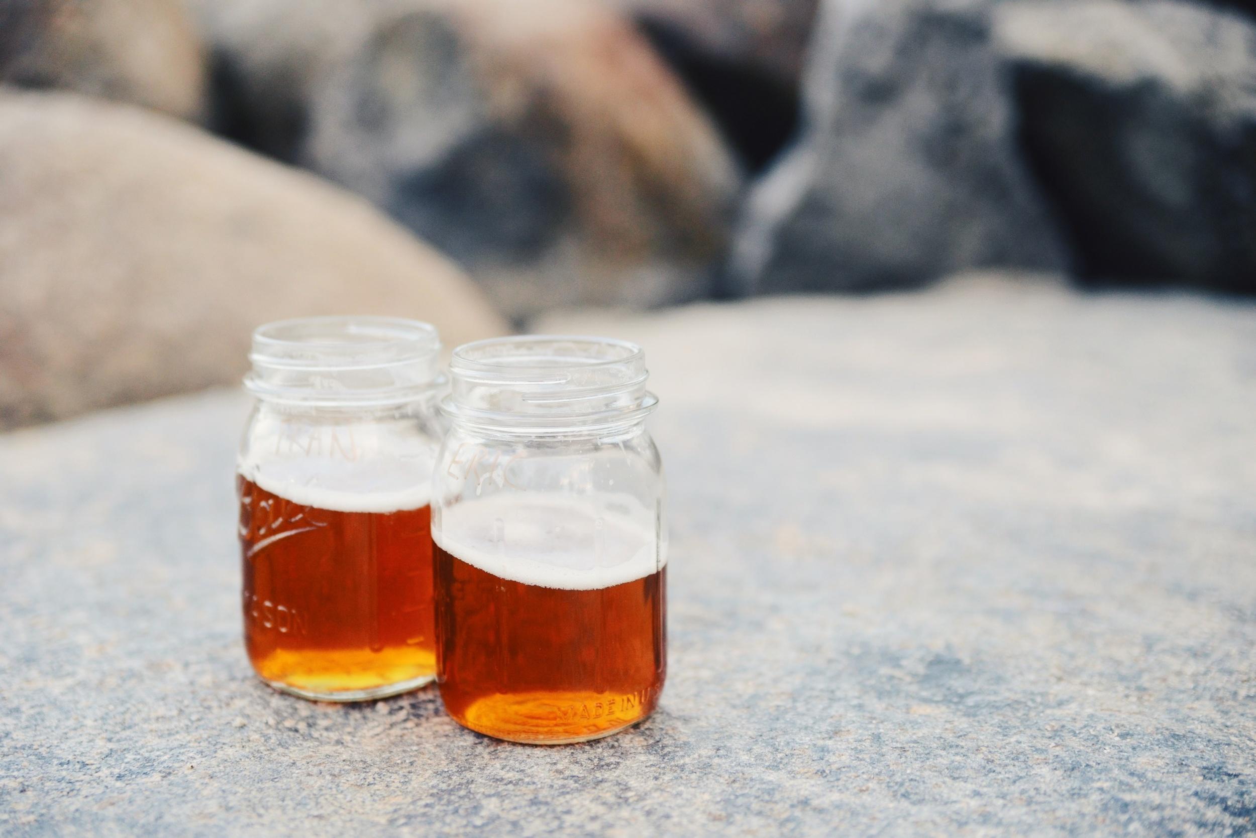Beer in mason jars