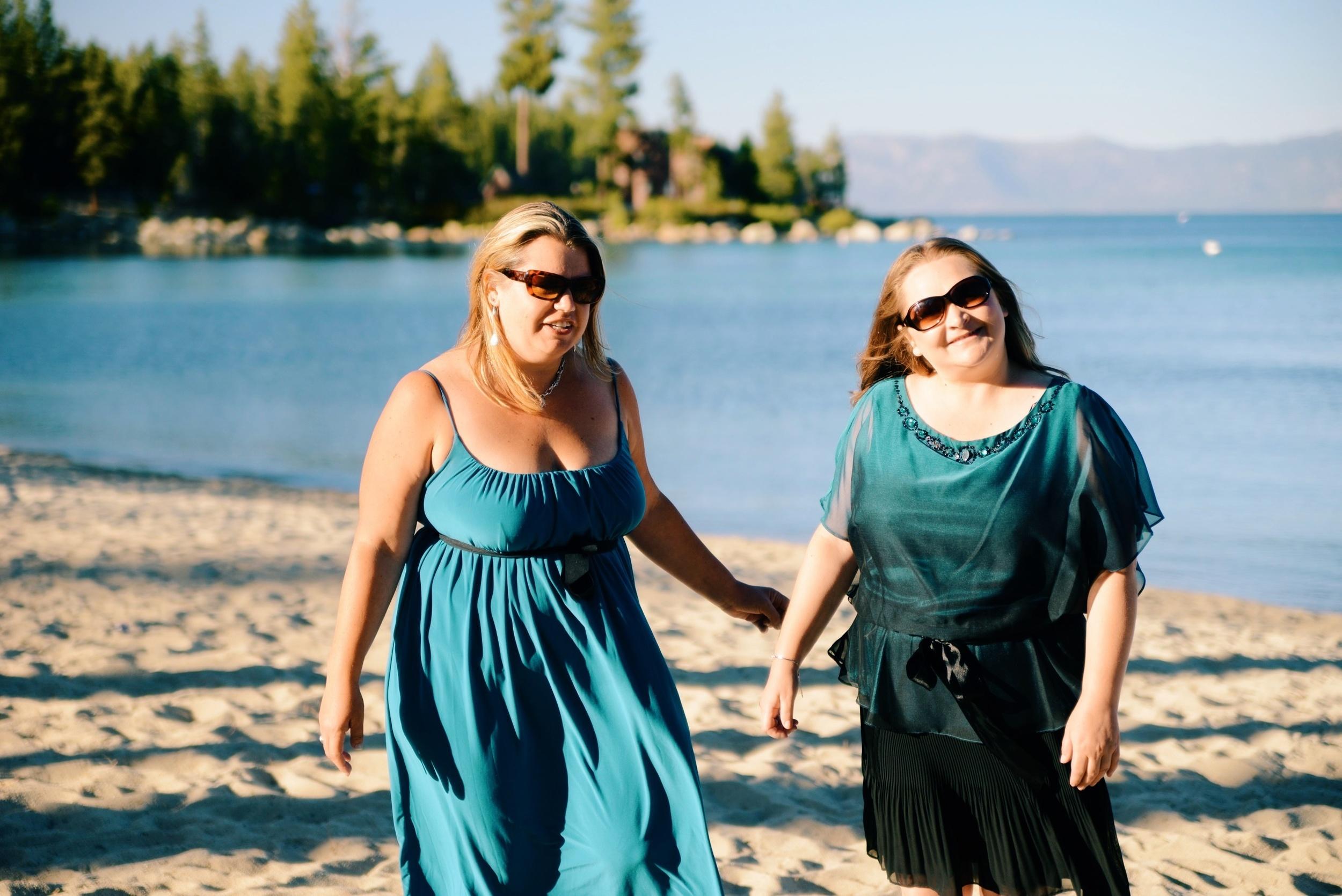 Mary and Erika on the beach