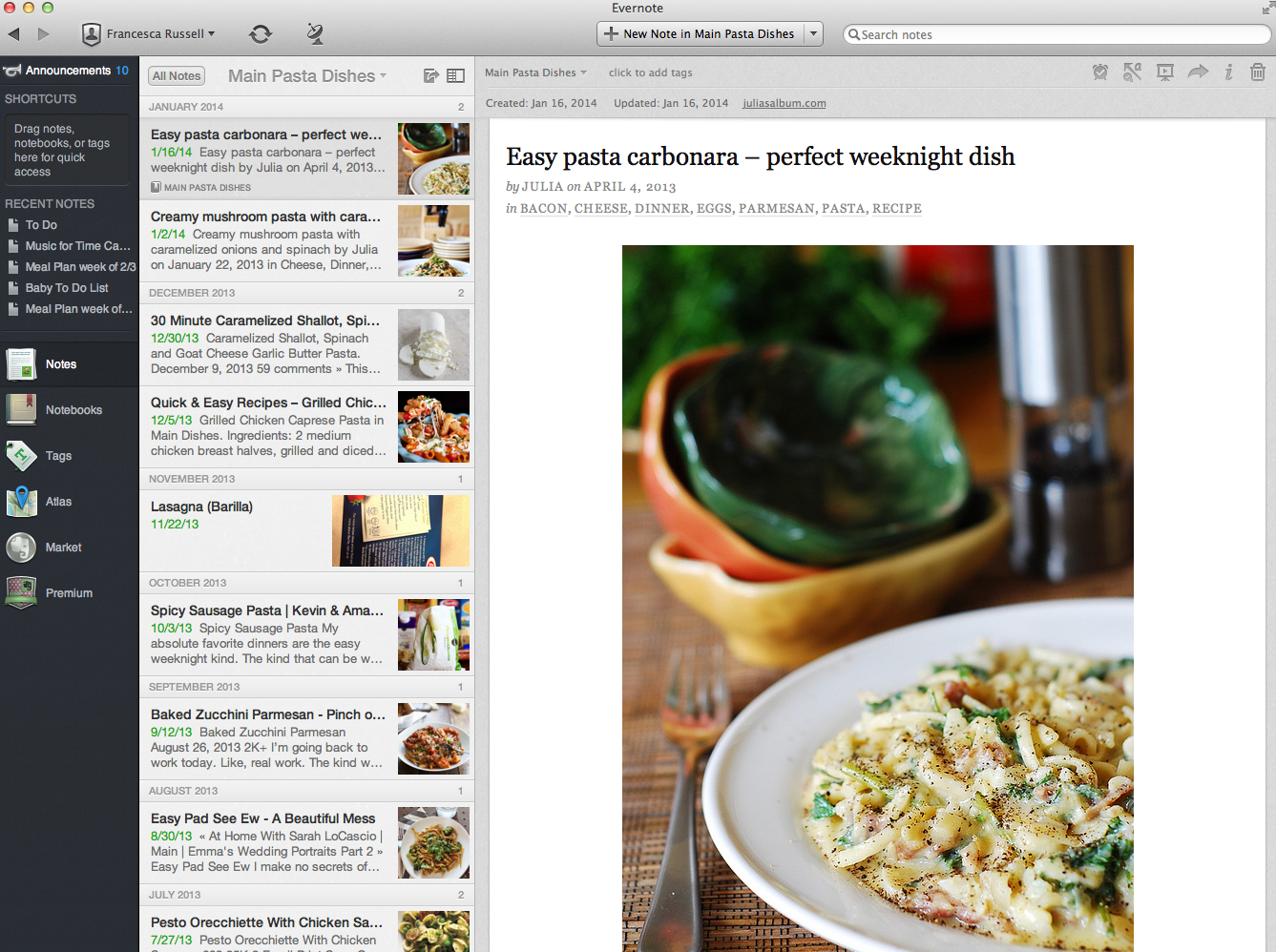 A recipe I clipped from the web to Evernote.